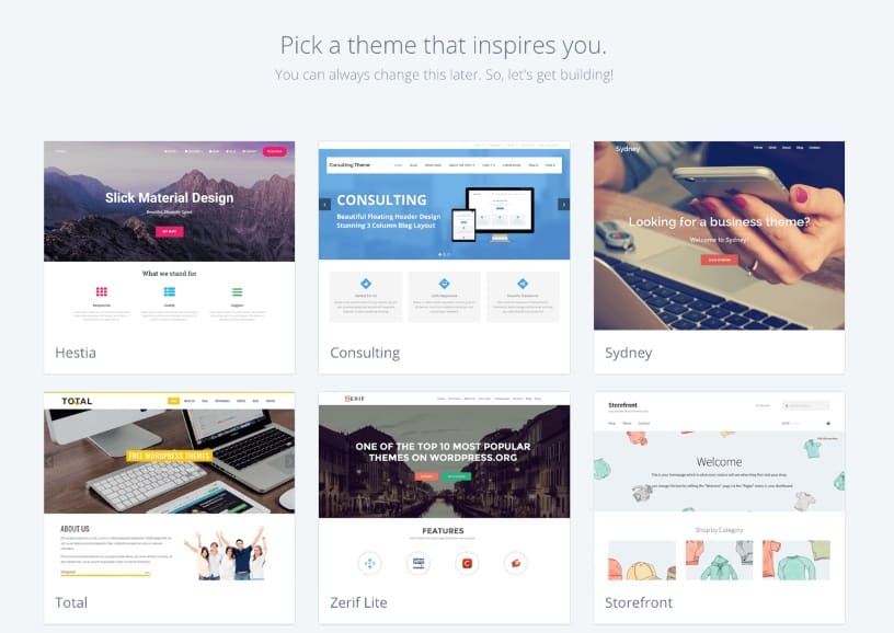 Bluehost free themes page