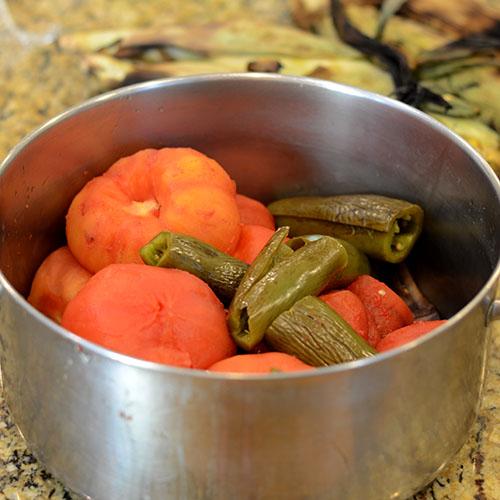 Vegetables, peeled, smoke