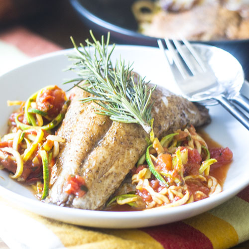 Branzino on Zoodles from Feed Your Soul Too