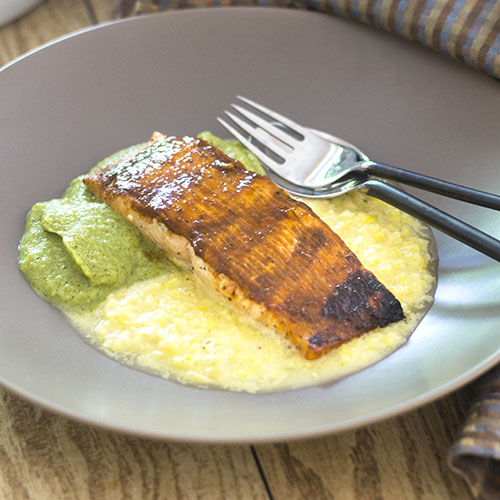 BBQ Salmon over Corn & Pea Purees from Feed Your Soul Too