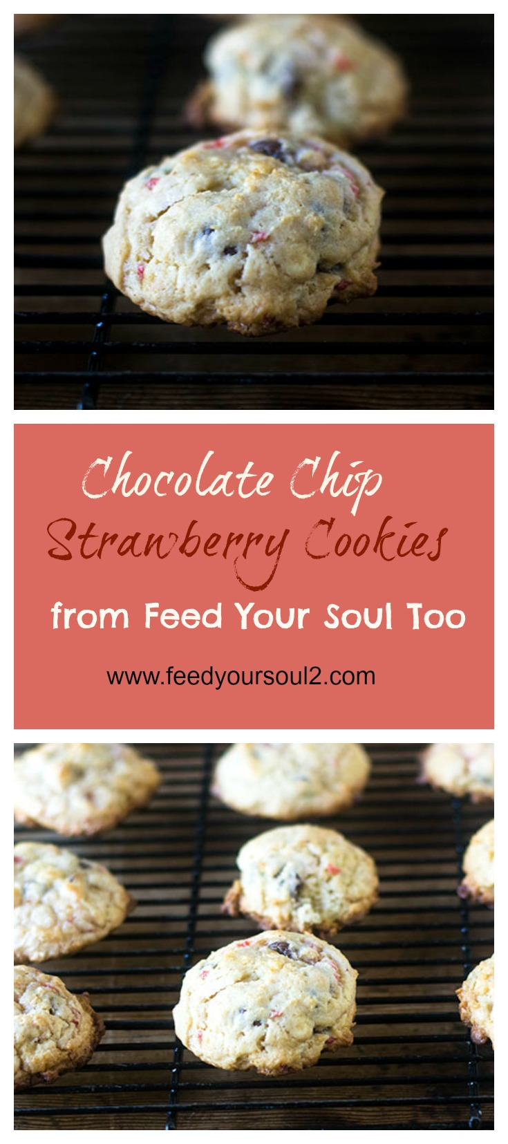 Chocolate Chip Strawberry Cookies #Dessert #cookies #chocolate #strawberry | feedyoursoul2.com