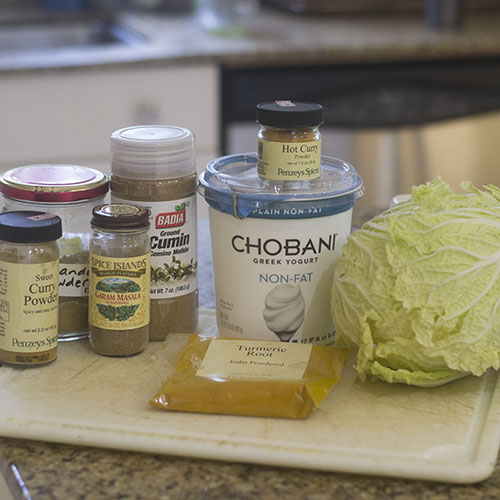 Cabbage and Curry Spice Ingredients