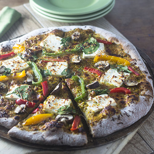 Indian Paneer Yellow Curry Pizza from Feed Your Soul Too