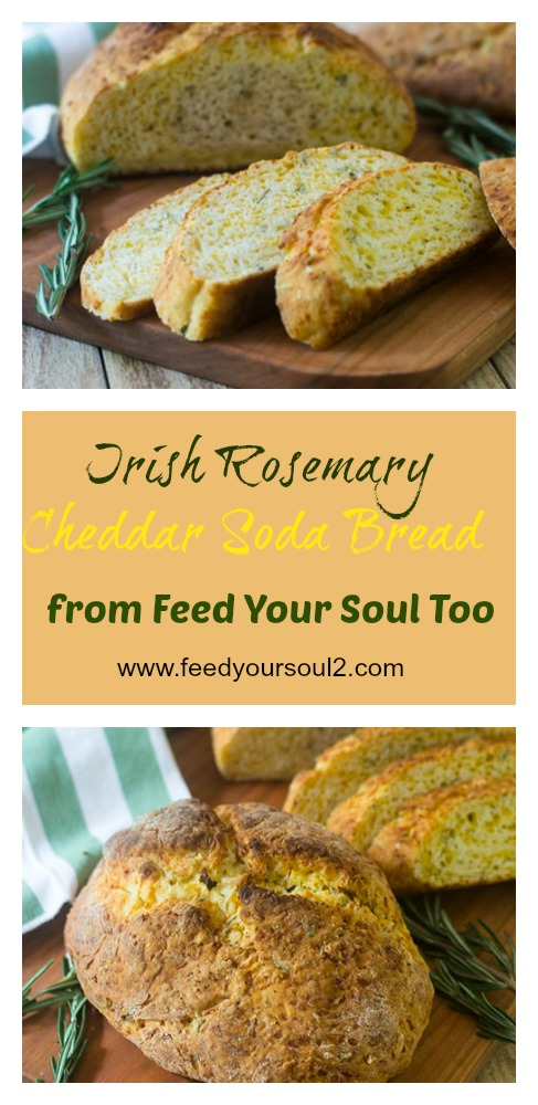 Irish Rosemary Cheddar Soda Bread #sidedish #bread #Irishrecipe #rosemary | feedyoursoul2.com