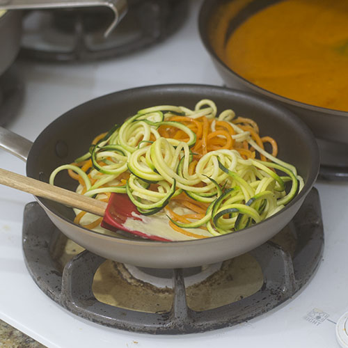 Adding Sweet Potato and Zoodles to Alfredo