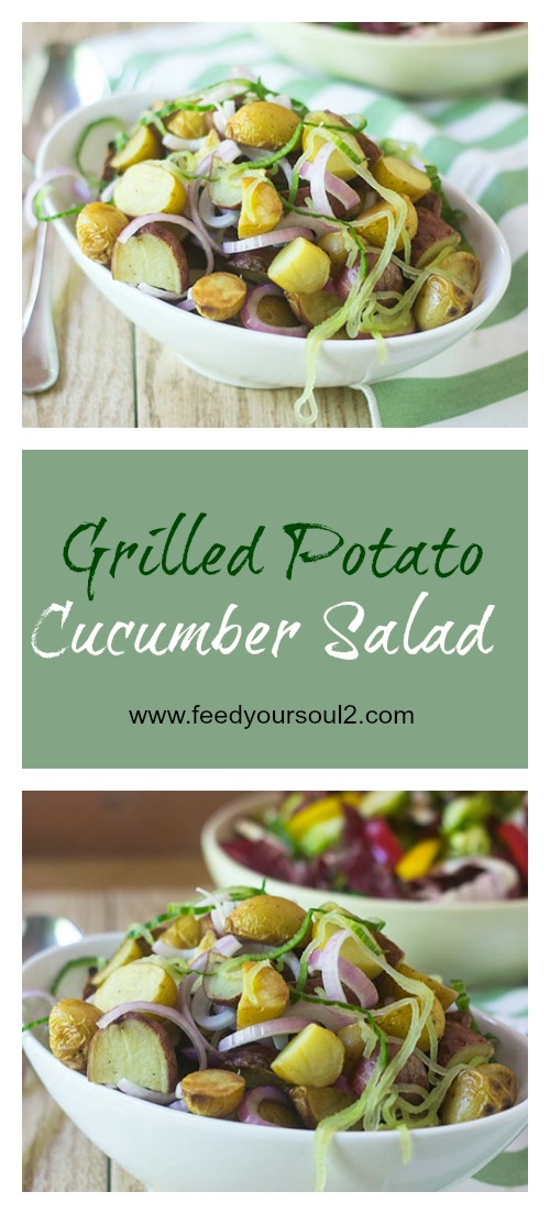 Grilled Potato Cucumber Salad #salad #grilling #glutenfree | feedyoursoul2.com