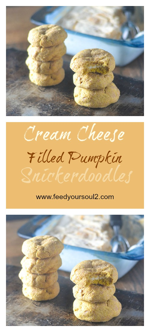 Cream Cheese Filled Pumpkin Snickerdoodles #cookies #glutenfree #dessert #pumpkin | feedyoursoul2.com