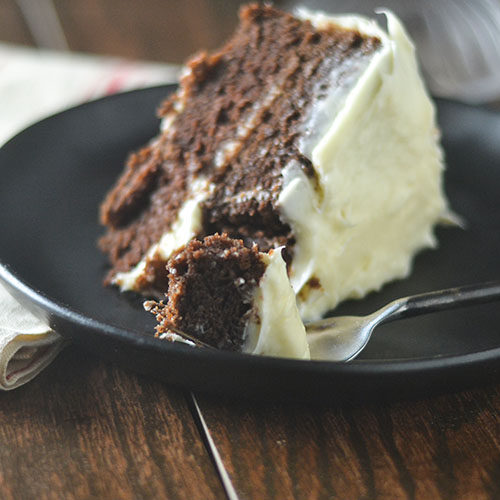 Lightened Up GF Chocolate Cake Cream Cheese Frosting from Feed Your Soul Too