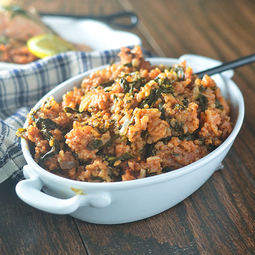 Greek Tomato Rice from Feed Your Soul Too