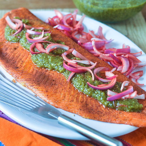 Smoked Salmon Green Chili Salsa from Feed Your Soul Too