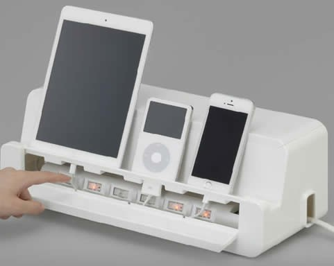 chair mobile stand family inada massage cable cord management storage box charger holder for ipad cell phone - feelgift