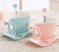 Ceramic Heart-Shaped Coffee Mug with Saucer - FeelGift
