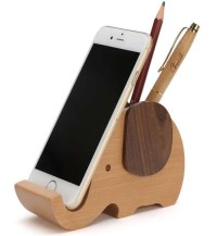 Wooden Elephant Pencil Holder Desk Organizer Phone Stand ...