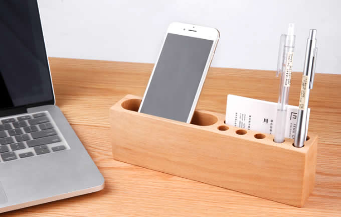 Wooden Pen Pencil Holder Cell Phone Holder Stand Office