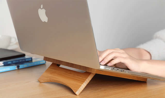 Foldable and Portable Bamboo Laptop Stand for Apple