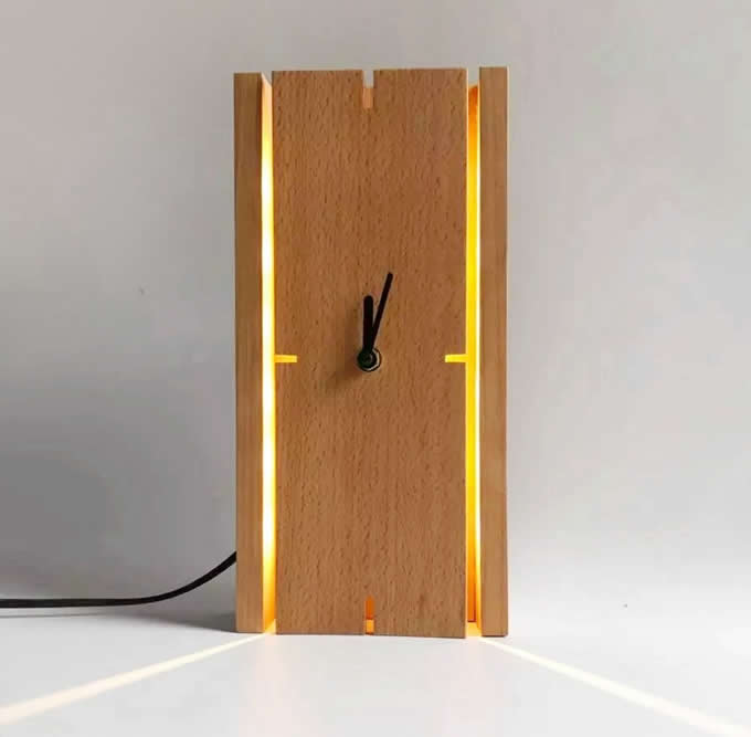 Square Wooden Wall Clock With Led Night light  FeelGift