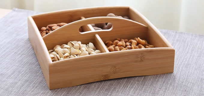 Bamboo Wooden Display Plate Tray Dish with Dividers