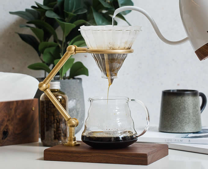 brass wooden pour over