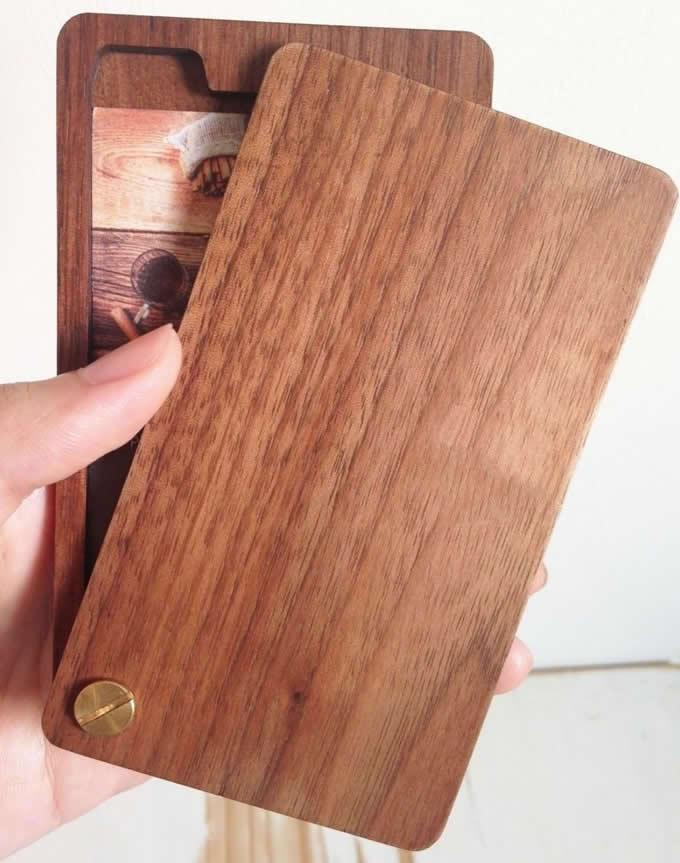 Slim Wooden Business Card Holder Case FeelGift