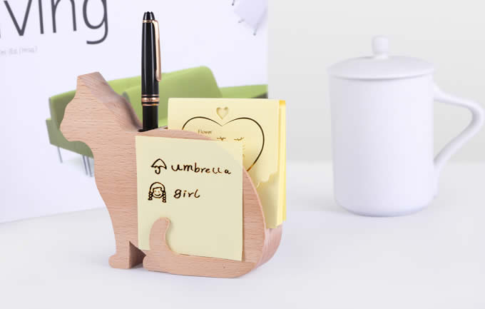 Wooden Cat Shaped Memo Pads and Pen Holder  FeelGift