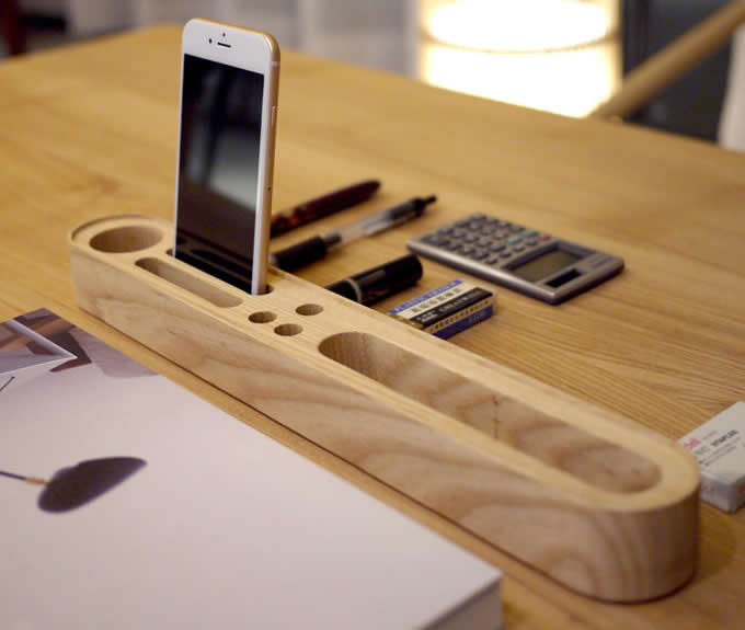 Wooden Business Card Pen Pencil Mobile Phone Stand Caddy
