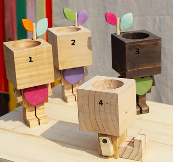 Wooden Robot Pen Pencil Phone Holder Desk Organizer