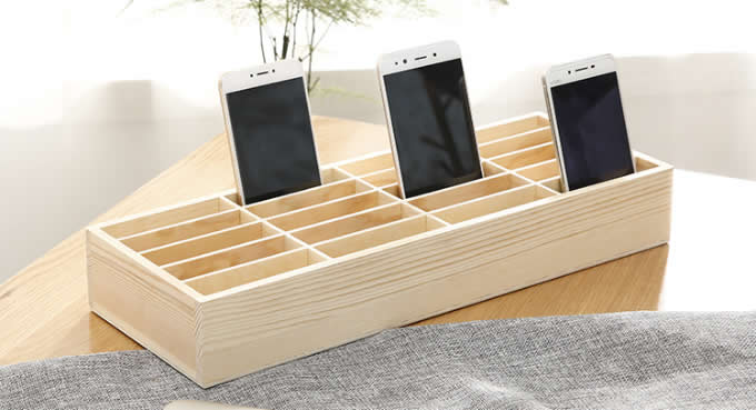 Wooden 20 Storage Compartments Multifunctional Storage Box