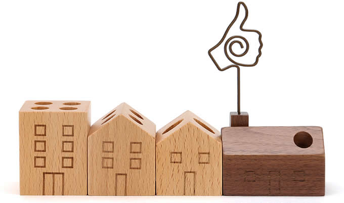 Wooden House shaped Pen Pencil Holder Stand4 Piece Set