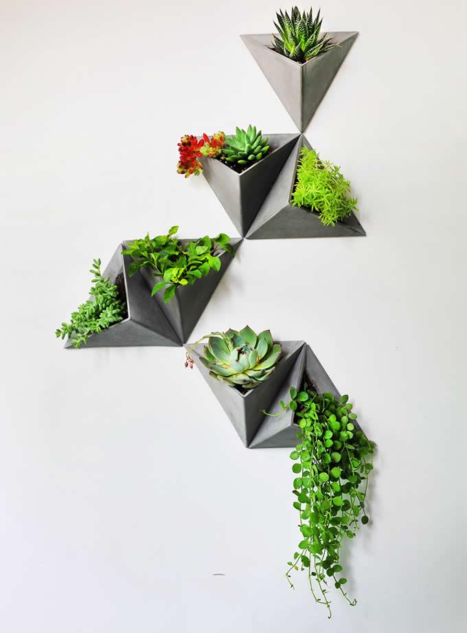 Concrete Triangle Wallmounted Flower Pot  FeelGift