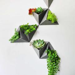 Elegant Living Room Design Lavender And Grey Concrete Triangle Wall-mounted Flower Pot - Feelgift