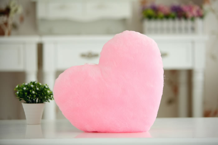 Luminous Love HeartShaped Throw Pillow  FeelGift
