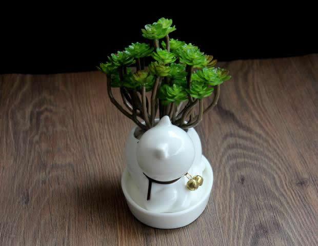 Cat Ceramic Succulent Planter Flower Pot  FeelGift