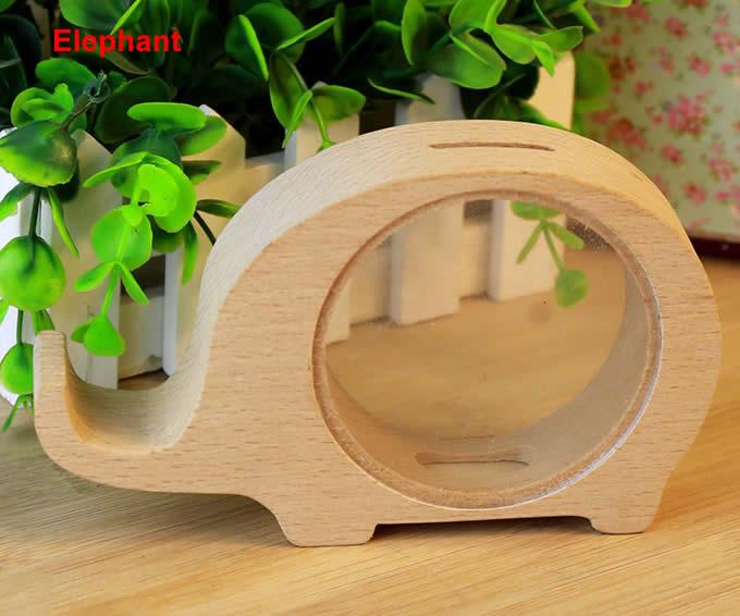 Wood Animal Piggy Bank  FeelGift