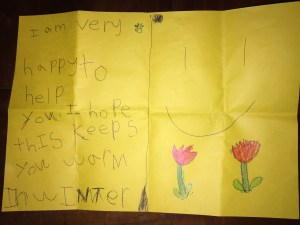 This is an image of a card written by a child for a homeless person