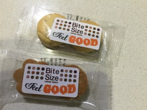 This is an image of cookies with the Feel Good Feb logo on them, donated by Bite Sized Coffee Treats
