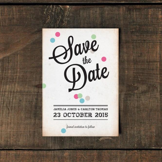 Vintage Confetti Wedding Invitation Feel Good