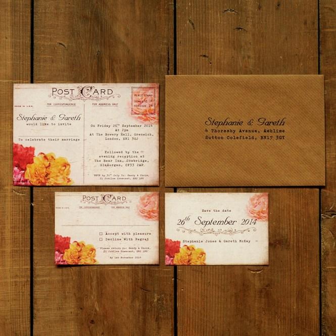 Shabby Chic Postcard Wedding Invitation