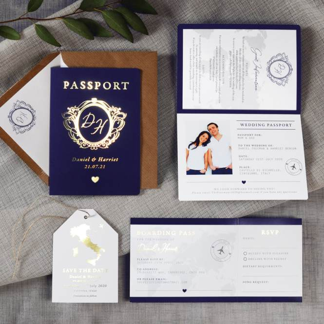 Passport Foil Invitation Feel Good Wedding Invitations