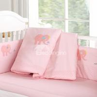Bouncy Baby Pink Elephant Pattern 9-Piece Crib bedding Set ...