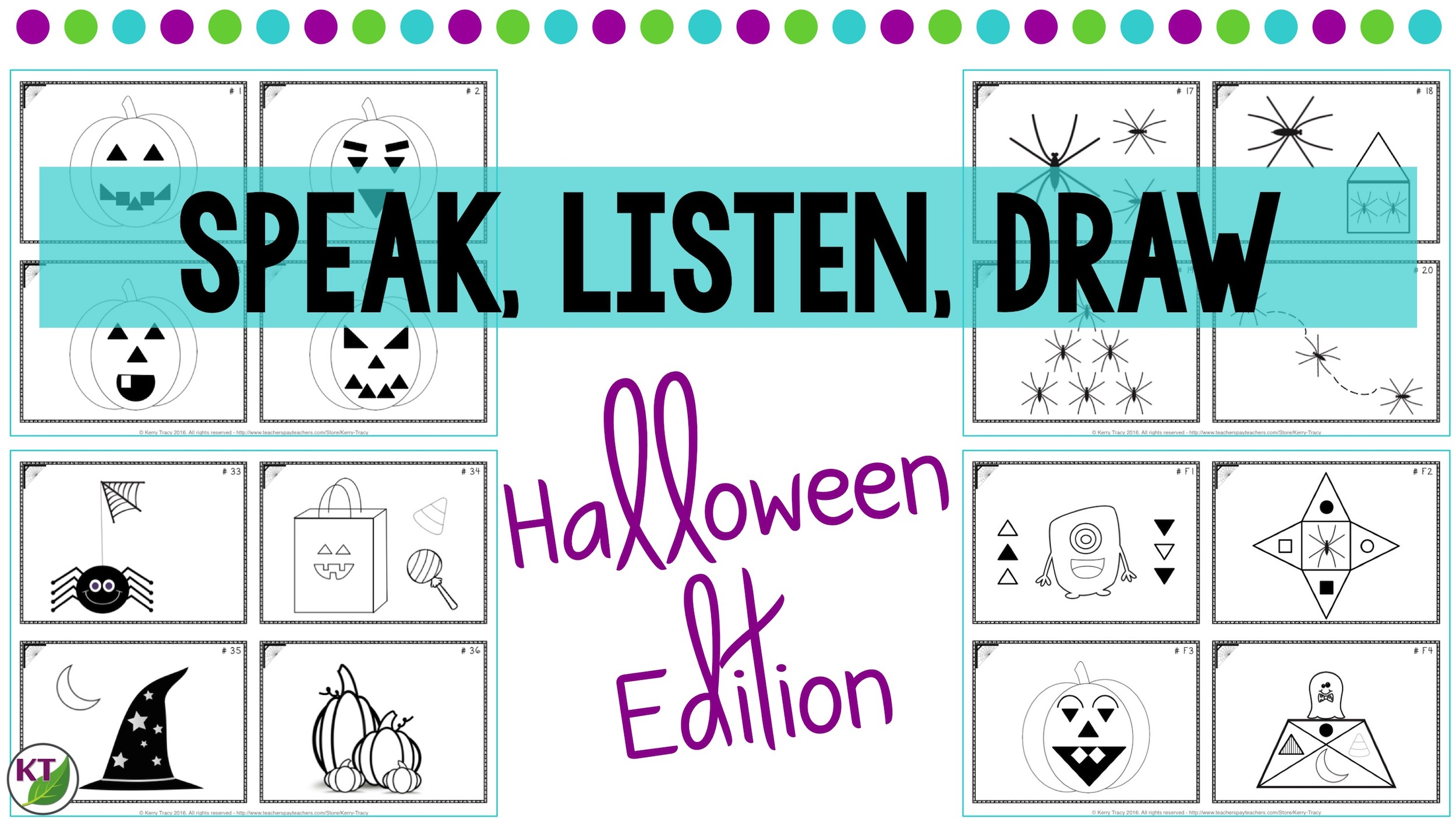 Halloween Speak Listen Draw Activity