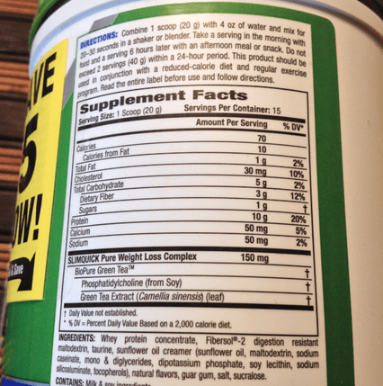 SLIMQUICK's nutrition information