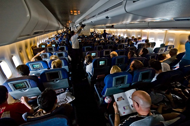 Flight cabin passengers travel