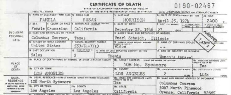 Pamela Courson Jim Morrison Girlfriend Death Certificate Los Angeles