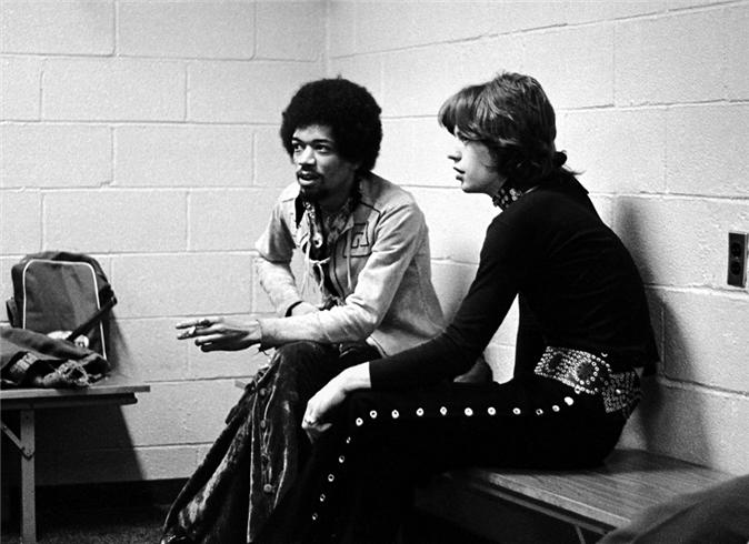 Jimi Hendrix with Mick Jagger The Rolling Stones