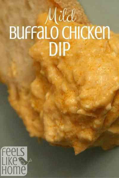 Buffalo chicken dip is the best appetizer EVER! This recipe is mild enough for kids. In fact, my kids beg for it for dinner!