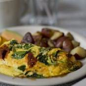 Sun-dried Tomato, Basil, Bacon, and Feta Omelet