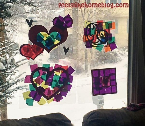 Finished suncatchers - Easy Valentine Suncatcher Crafts for Kids