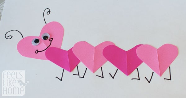Valentine's Day heart-shaped animal crafts for kids caterpillar