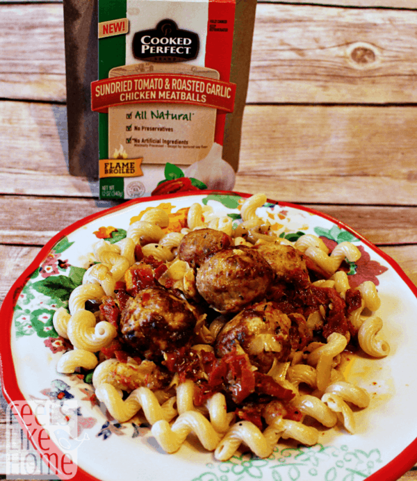 These chicken meatballs are amazing, and the recipe for sun dried tomato and artichoke sauce complements them perfectly! Serve it over pasta for a complete, healthy meal!