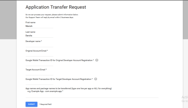 Android application transfer request
